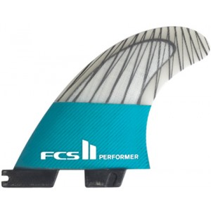 Aileron FCS II Performer PC Carbon Teal Medium Tri Set