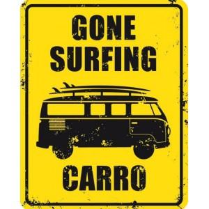 Plaque Décoration Métal Gone Surfing Carro