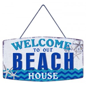 Plaque Décoration Métal Welcom To Our Beach
